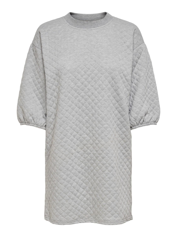 Jacquelie de Young, Napa 3/4 quilted dress, light grey melange