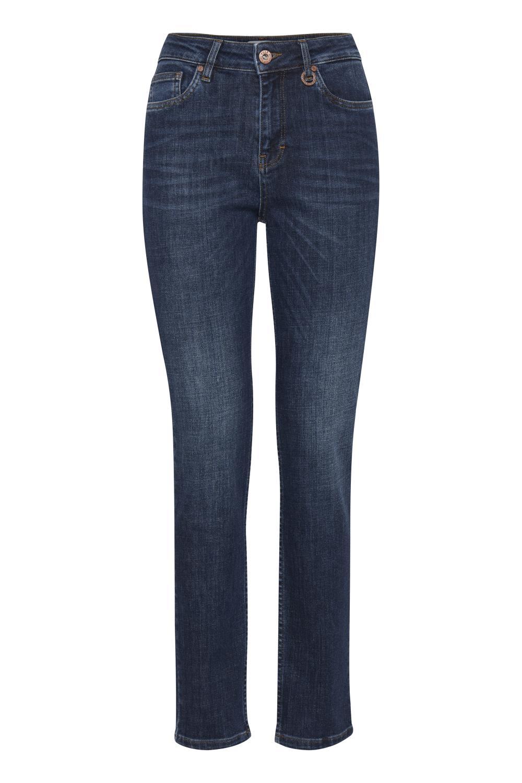 Pulz Liva highwaisted straight leg jeans, dark blue denim