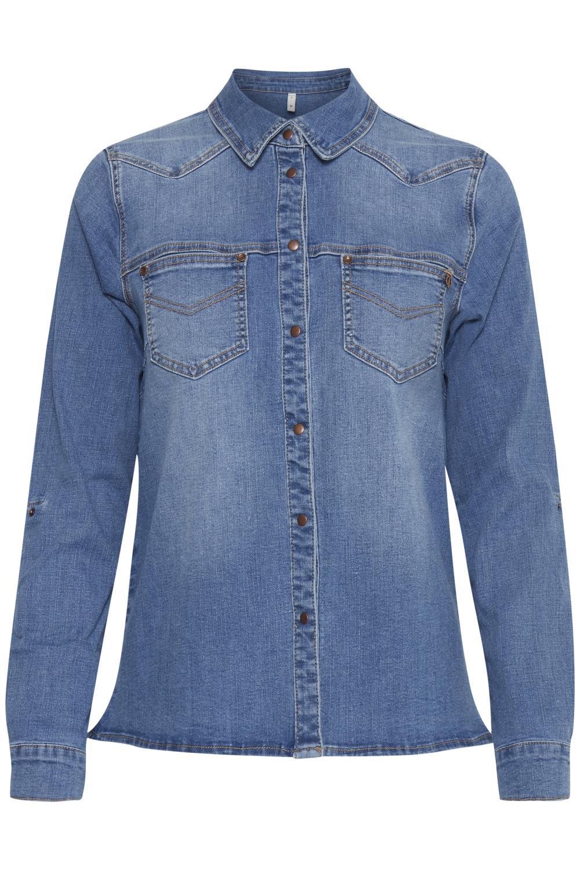 Pulz Josie shirt, light blue denim