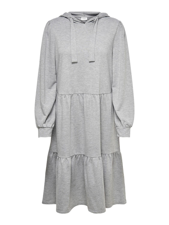 Jacqueline de Yong Dale Hood Sweat Dress, lysgrå