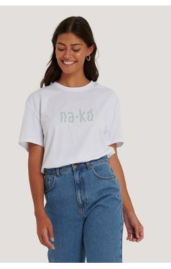 NA-KD T-shirt, hvit m/logo