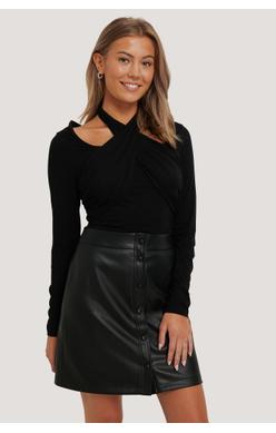 NA-KD PU Mini Skirt, sort