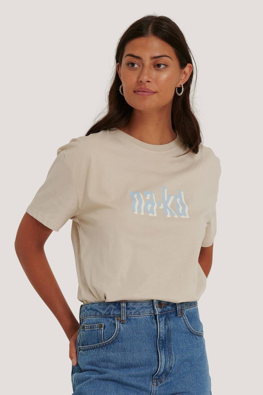 NA-KD T-shirt, beige m/logo