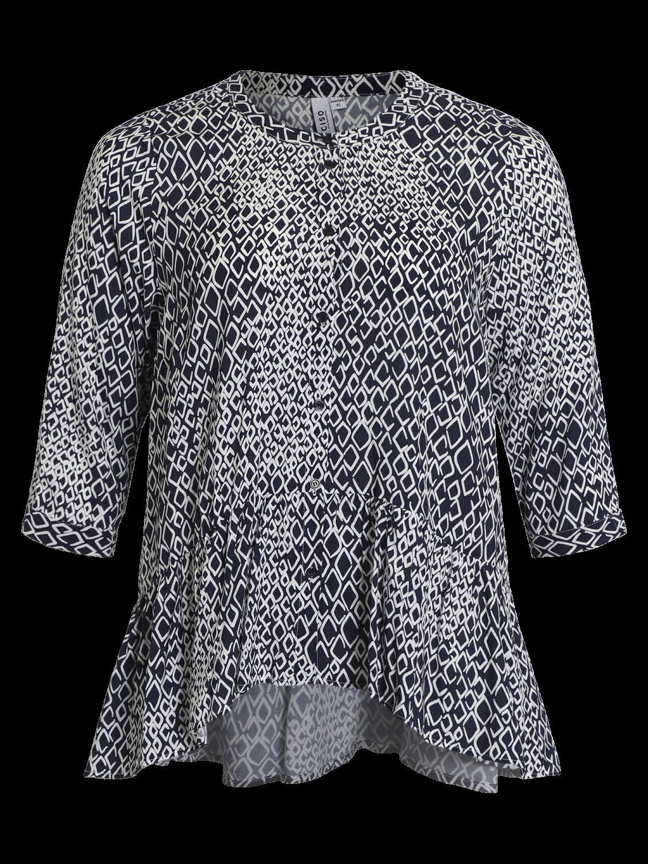 Ciso Marineblå mønstret bluse
