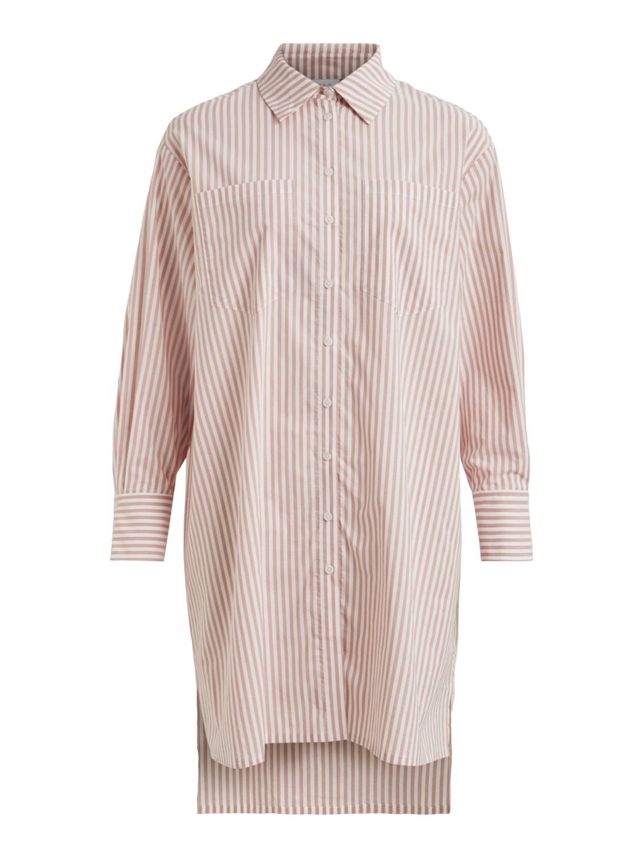 Vila Normi L/S oversize shirt, old rose/snow white