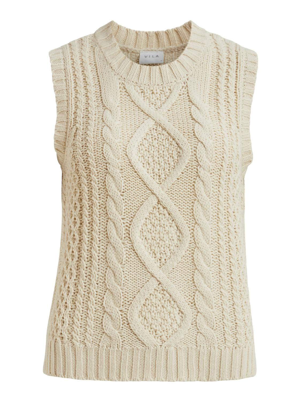 Vila Atlan Knit Vest, offwhite, flette vest