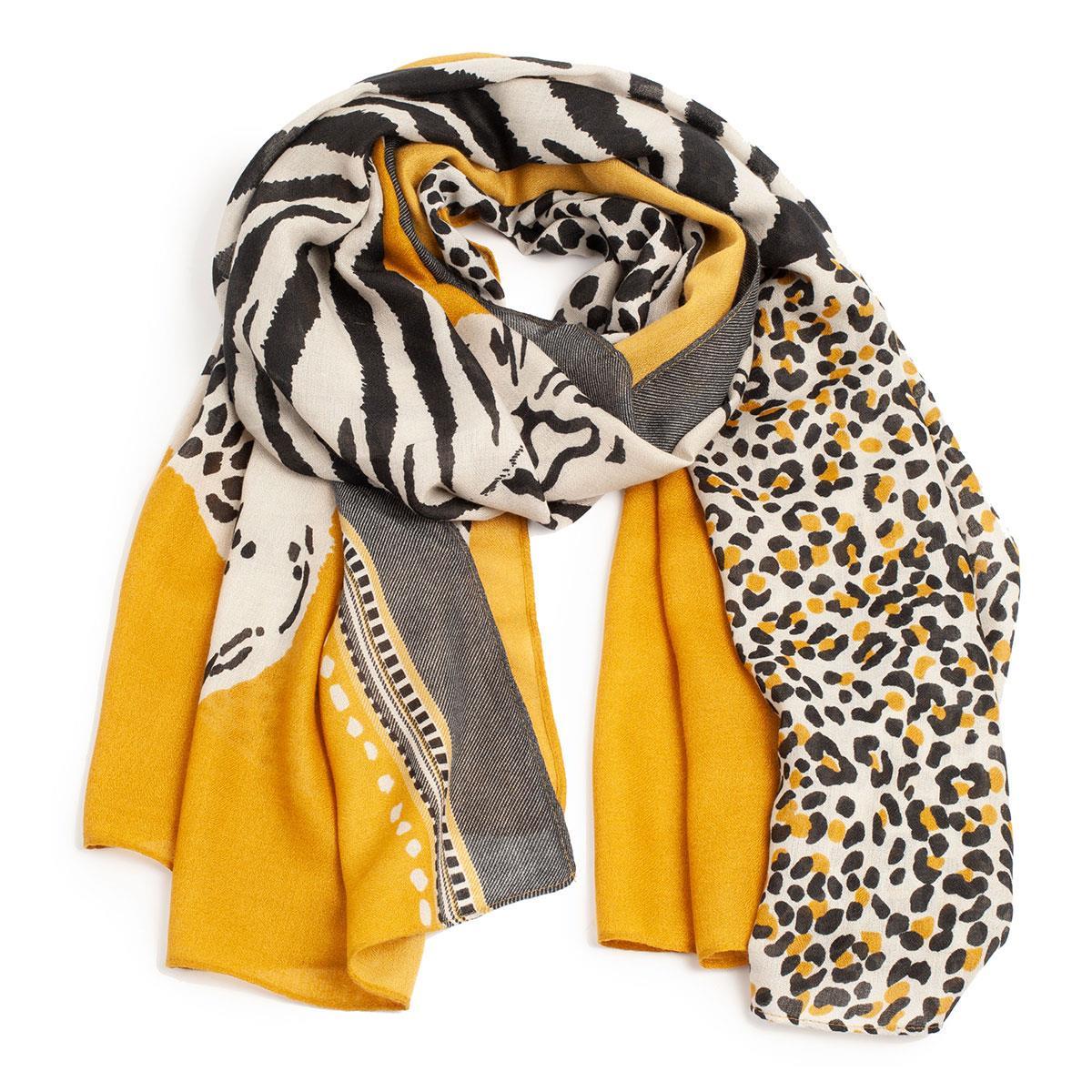 A&C Scarves, visose, oker/sort mønstret