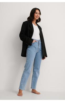 NA-KD Straight High Waist Jeans, light blue