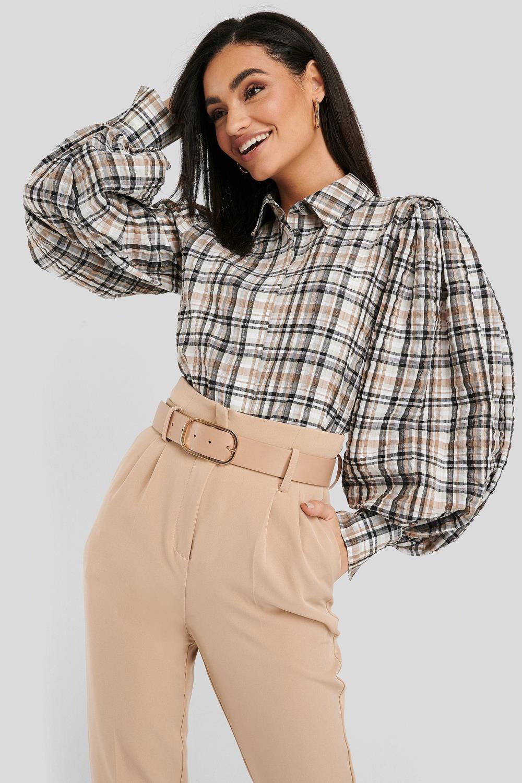 NA-KD Puff Sleeve Chek Oversized Shirt, brun