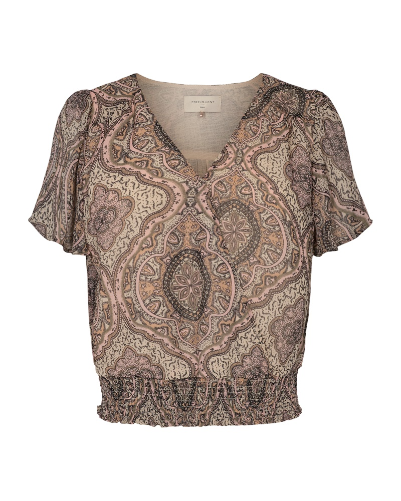 Freequent Nady Blouse, rosa/beige mønstret