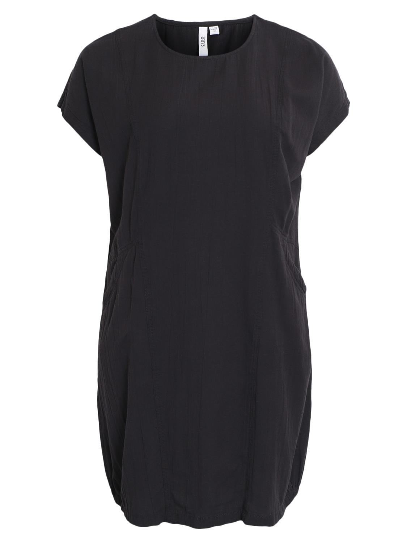 Ciso sort bomull/lin kjole med lommer