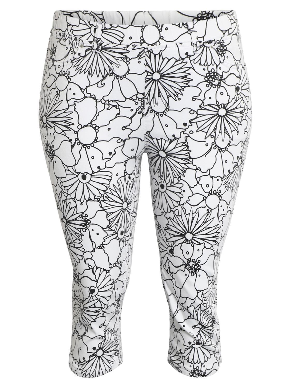 Ciso mønstret capri bukse, hvit/sort