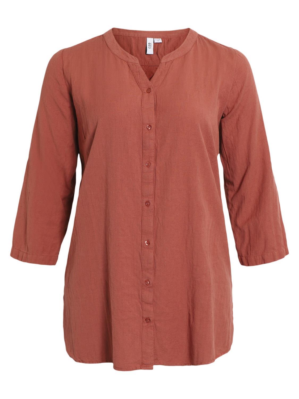 Ciso storskjorte bomull/lin, rust