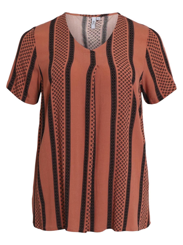 Ciso tunika topp, oransje/sort mønstret