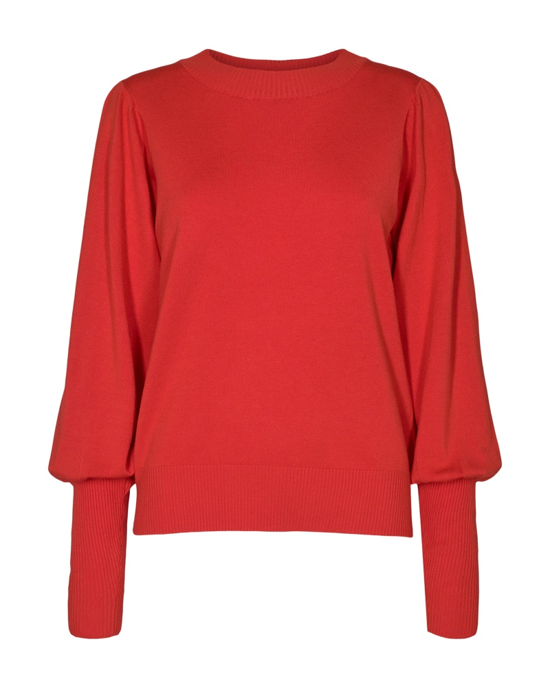 Freequent Jone puff pullover, poppy red