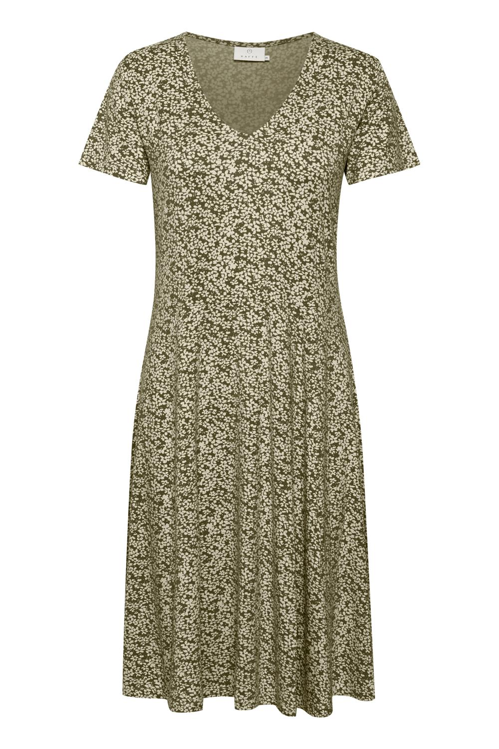 Kaffe Molly Jersy Dress, mønstret oliven