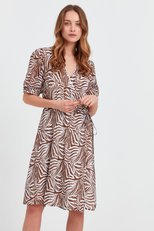 Pulz Berethe Dress, brun, dyreprint