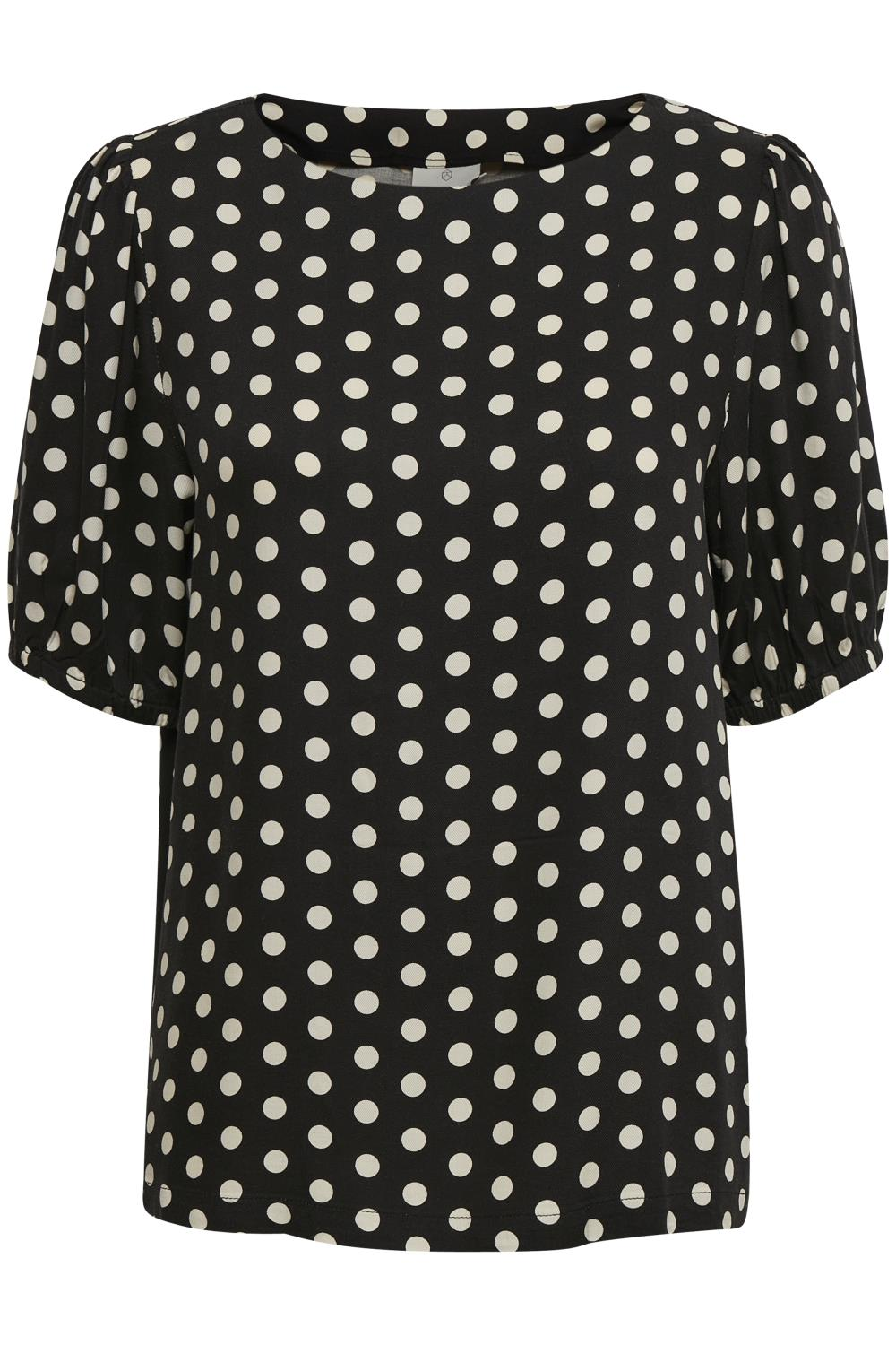 Kaffe Barbara blouse, black/broken white dot