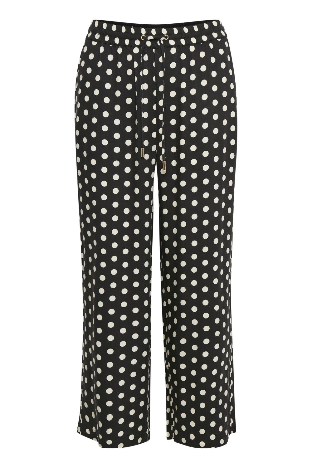 Kaffe Barbara culotte pants, black/broken white dot