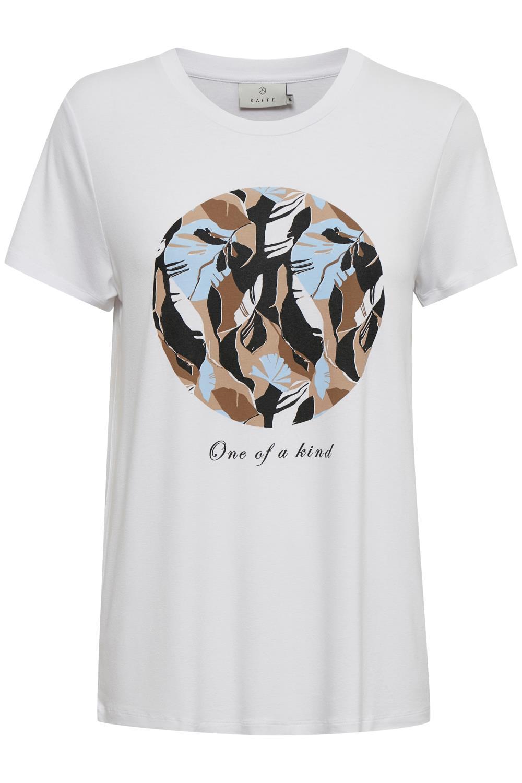 Kaffe Kisa T-shirt, hvit m/trykk