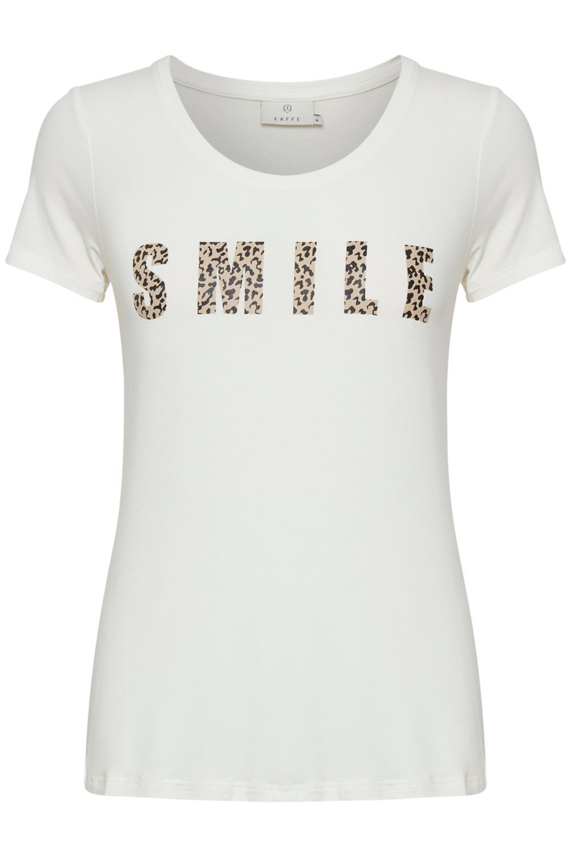 Kaffe Emmery T-shirt, offwhite m/trykk
