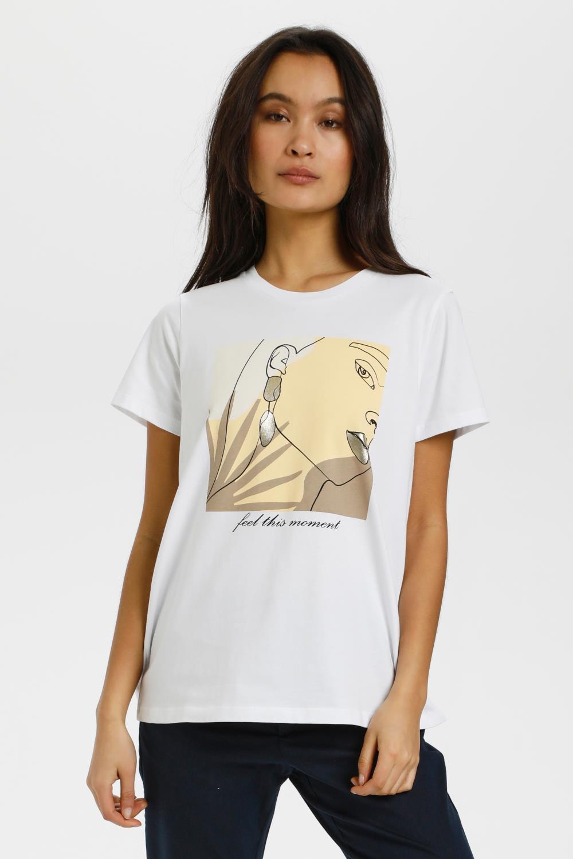 Kaffe Helia T-shirt, hvit med trykk