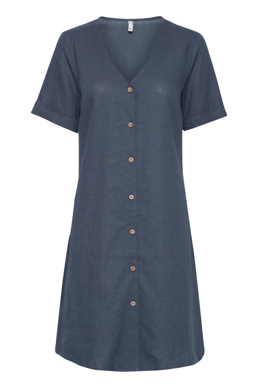 Pulz Bianca Dress, lin, mellomblå
