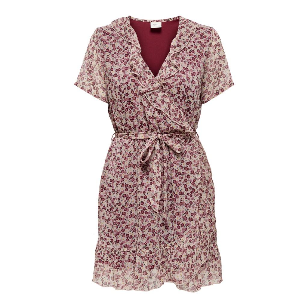 Jacqueline de Young Jennifer life s/s wrap dress, cloud dancer/redish flower