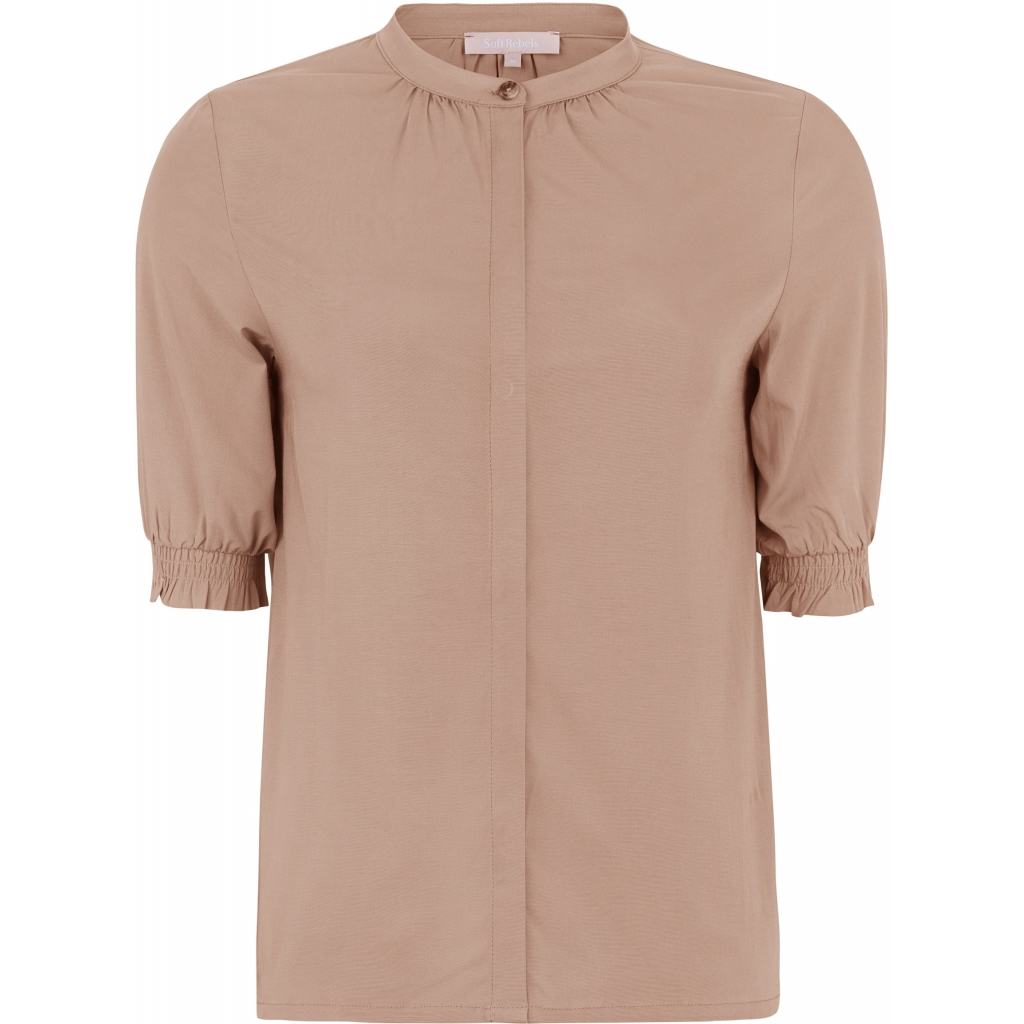 Soft Rebels SRGilly 2/4 shirt, raw umber/lys brun