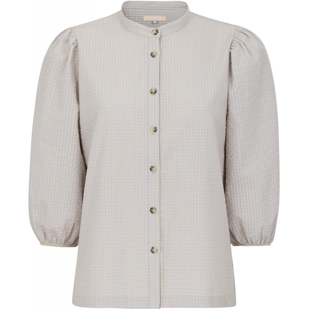 Soft Rebels SRJuliane 3/4 shirt, beige/lys blå rutet
