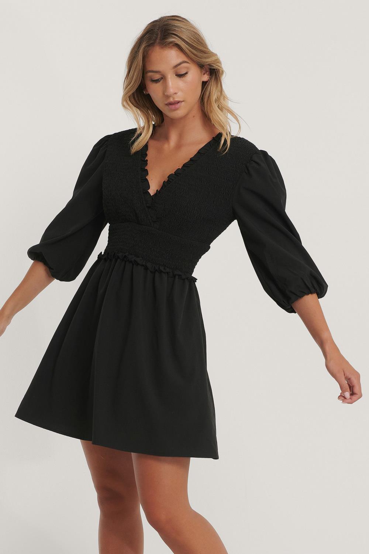 NA-KD Smocked mini dress, black