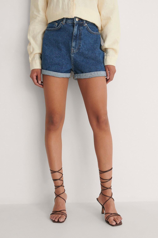 NA-KD Fold up mom shorts, mid blue