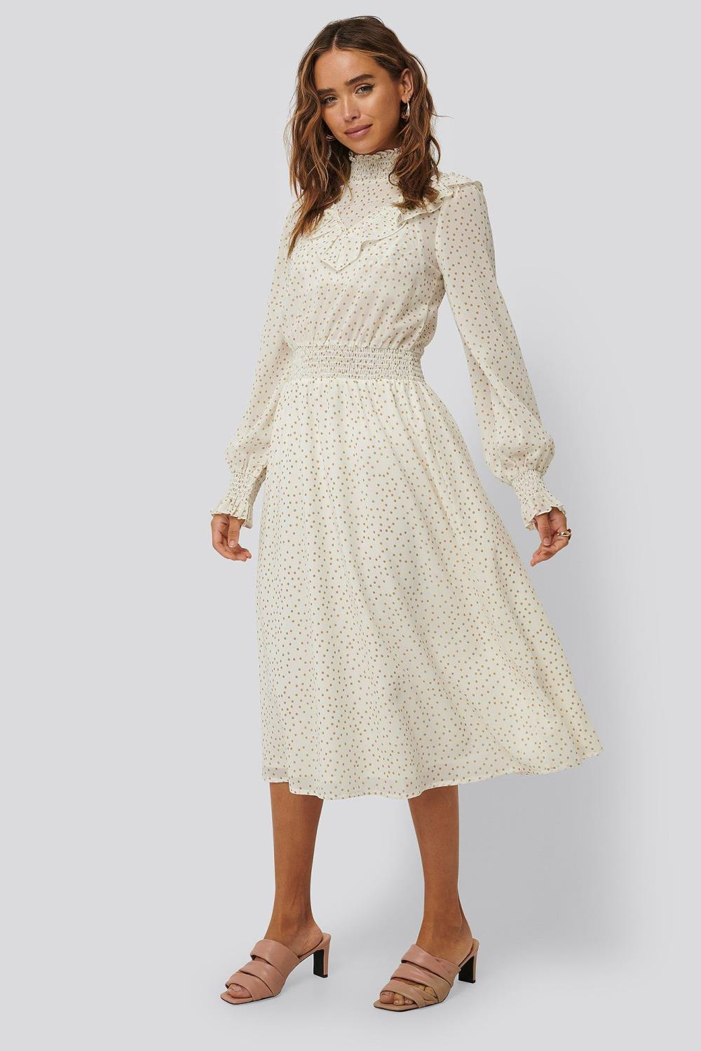 NA-KD Dotted fill detail dress, white/beige
