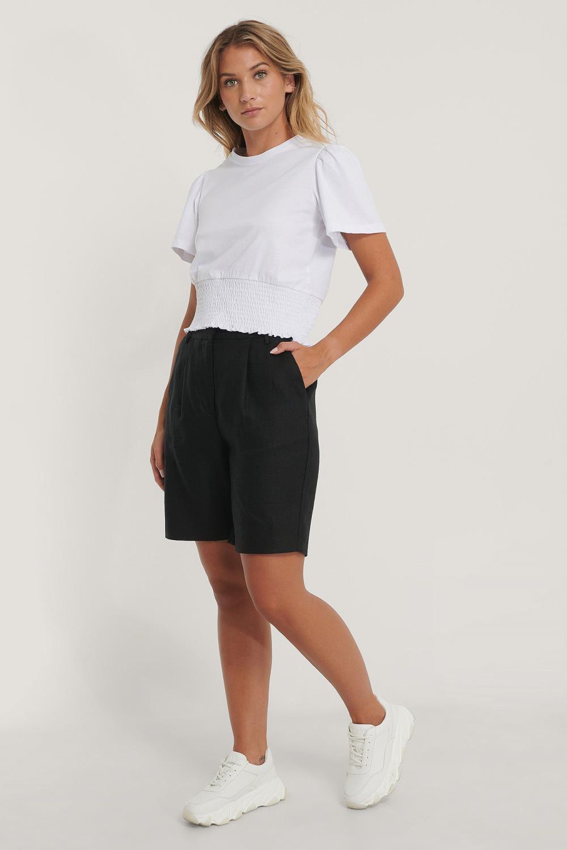 NA-KD high waist linen shorts, black