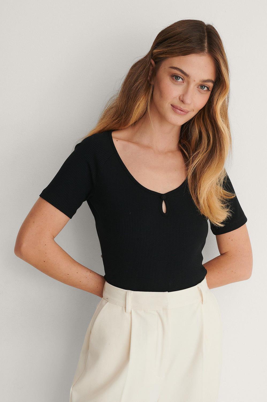 NA-KD Keyhole jersey top, black