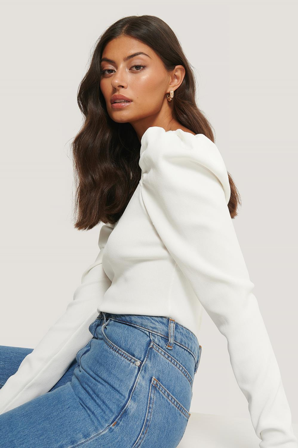 NA-KD Light Knitted Puff Sleeve Sweater, offwhire
