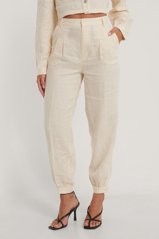 NA-KD Ballon Leg Linen Pants, beige