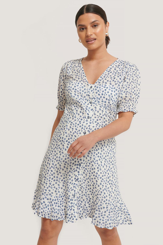 NA-KD Button Up Mini Dress, blå blomstret