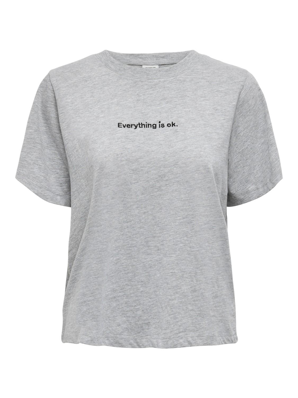 Jacqueline de Young Felisa t-shirt, light grey melange/print