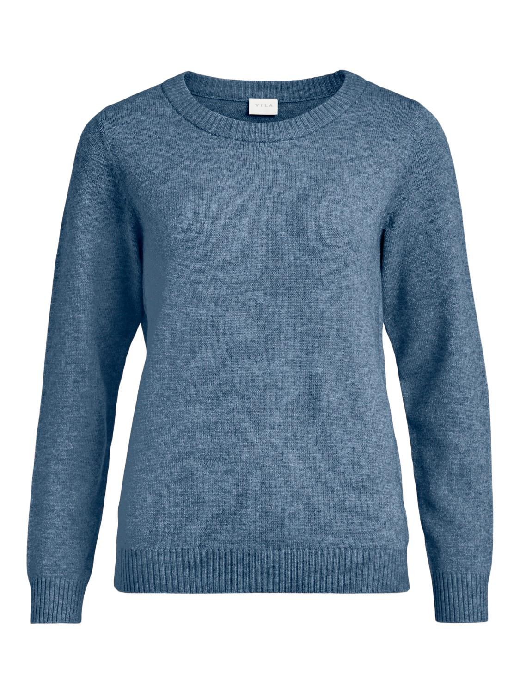 Vila ViRil o-neck L/S knit top, captains blue/melange