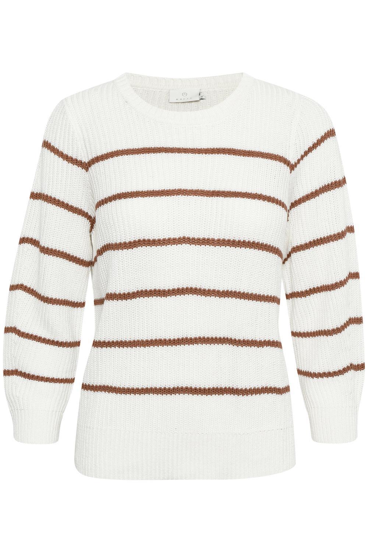 kaffe Elaina pullover, chalk white/russet stripe