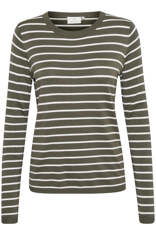 Kaffe Miana Knit Pullover, olivengrønn stripet