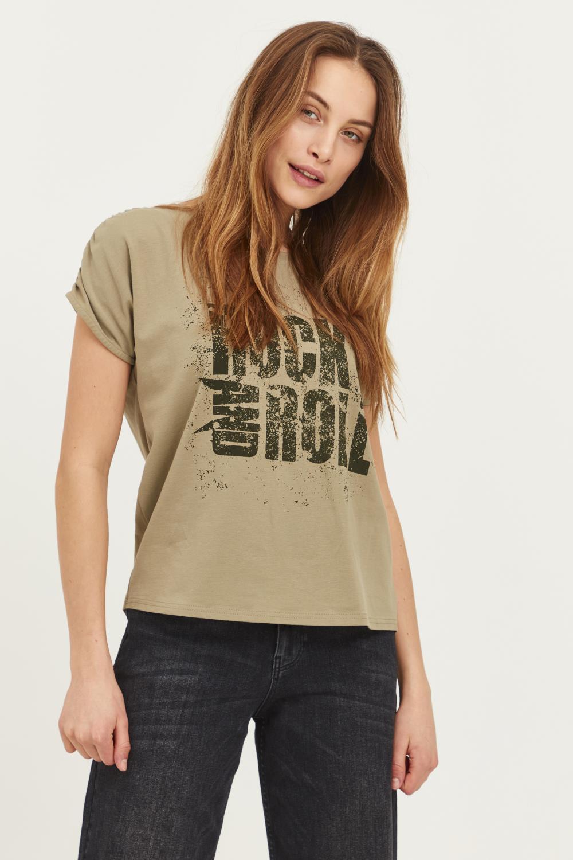 Pulz Janica T-shirt, dus grønn med trykk