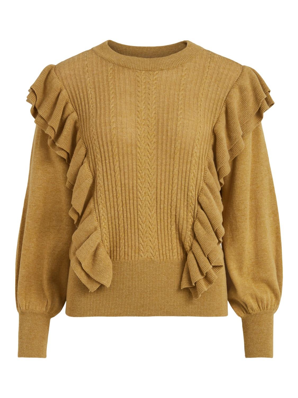 Vila Hani ruffle L/S knit top, khaki/melange