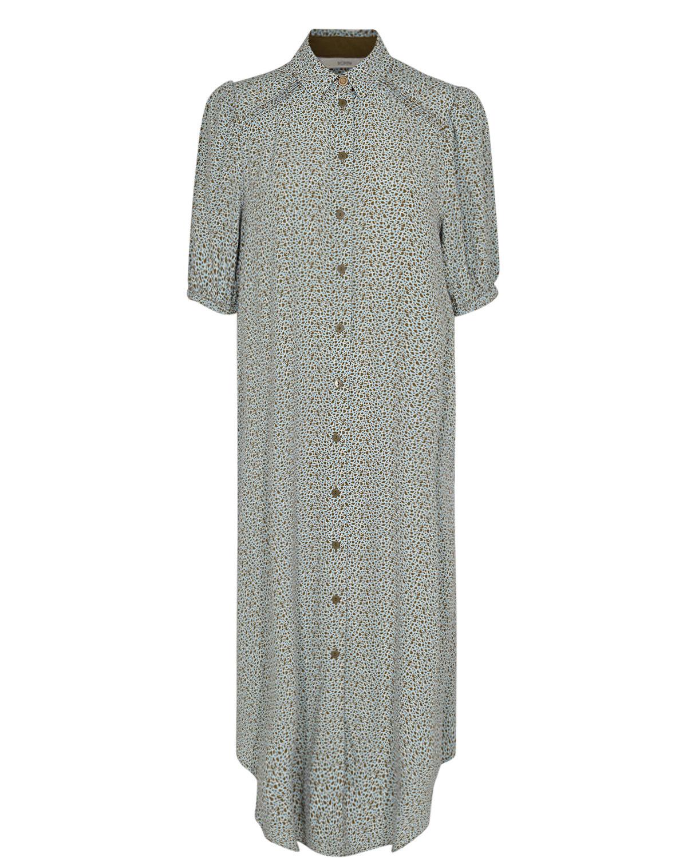 Nümph Cecelia shirt dress, lysblå/brun