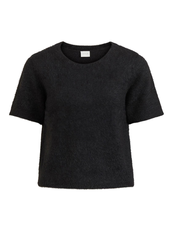 Vila Helly S/S knit top, black