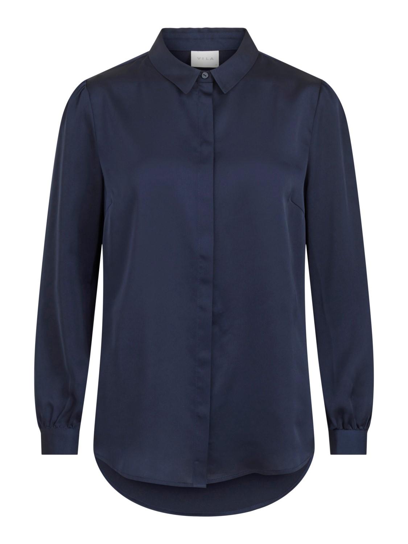 Vila Elette satin L/S shirt, marineblå