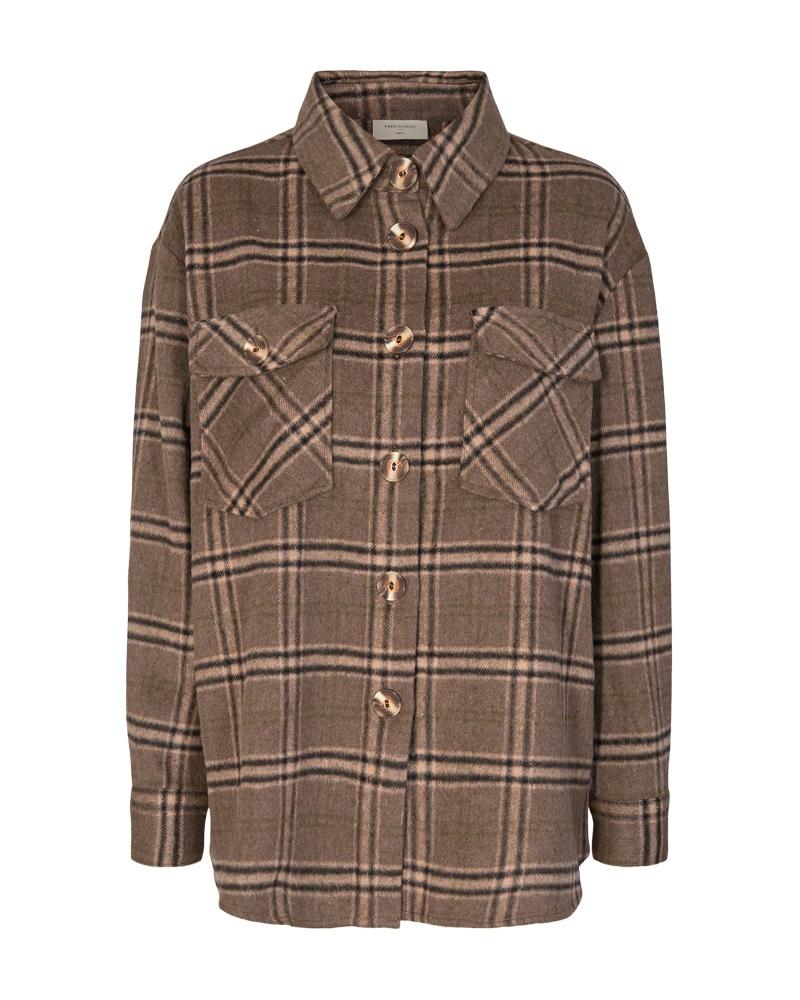 Freequent Bam jacket, brun/rutet