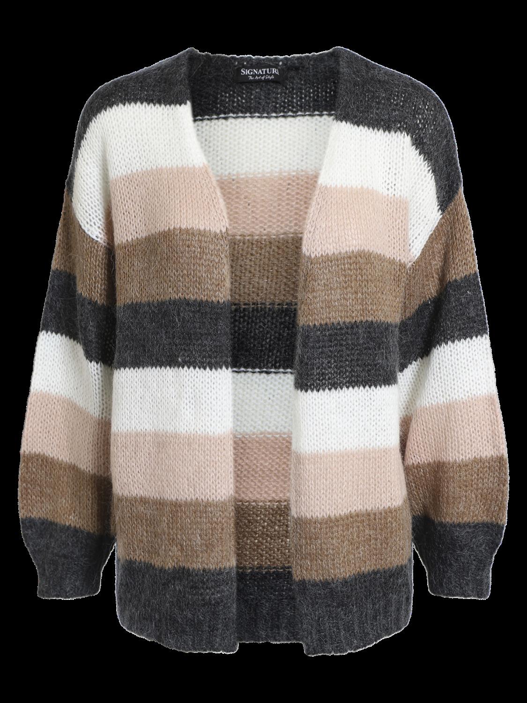 Signature Cardigan, stripet brun/rosa