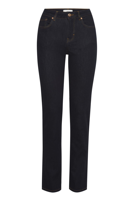 Pulz Emma jeans straight leg, mørk denimblå
